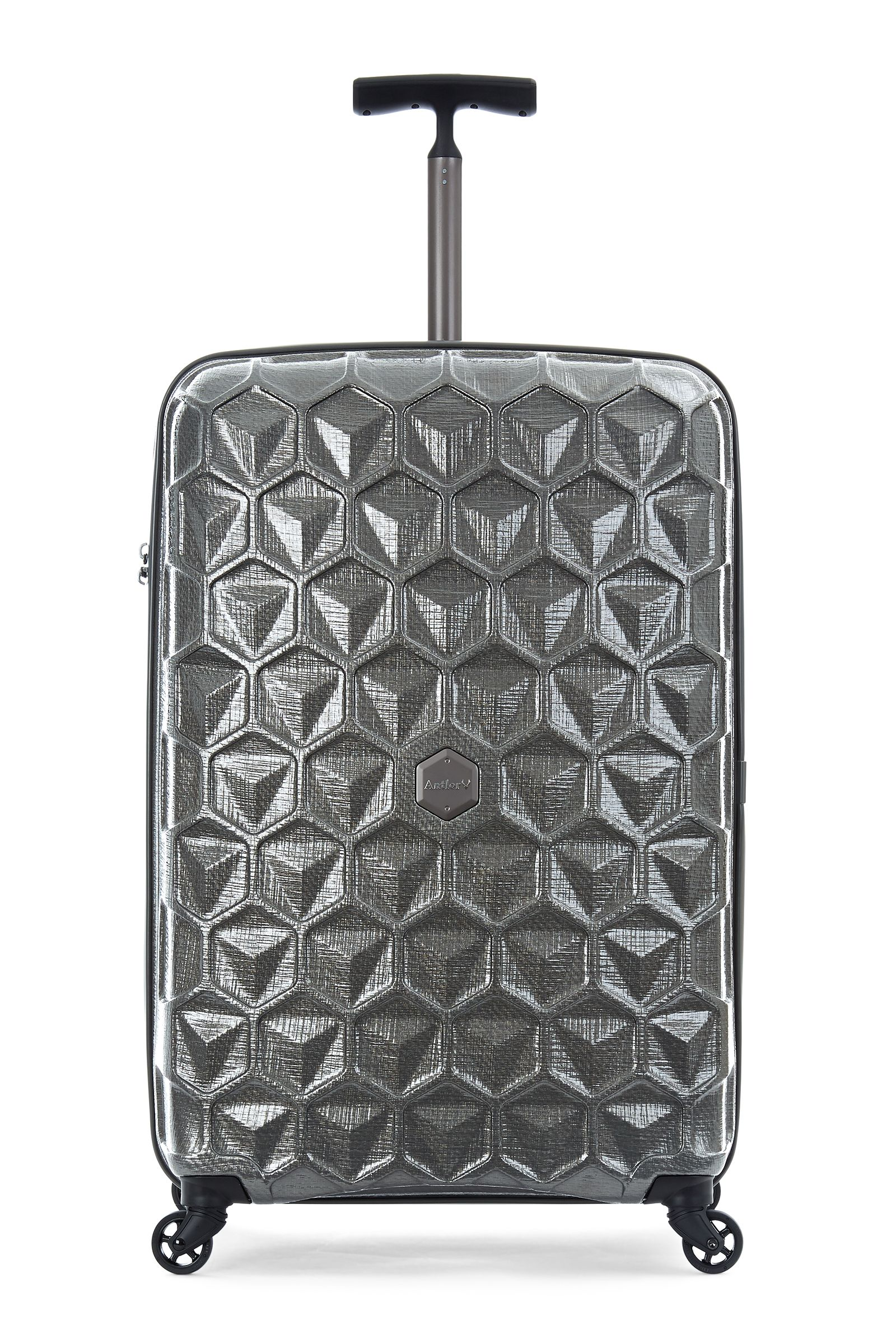 Antler Atom charcoal 4 wheel hard large suitcase Charcoal