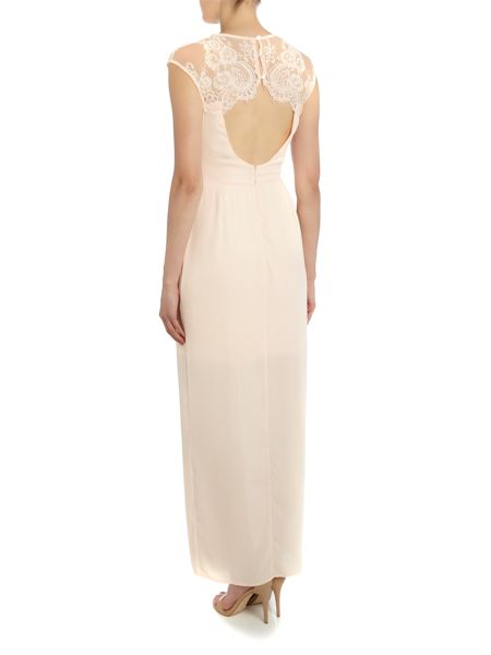 Elise Ryan Sleeveless Lace Cutout Maxi Dress