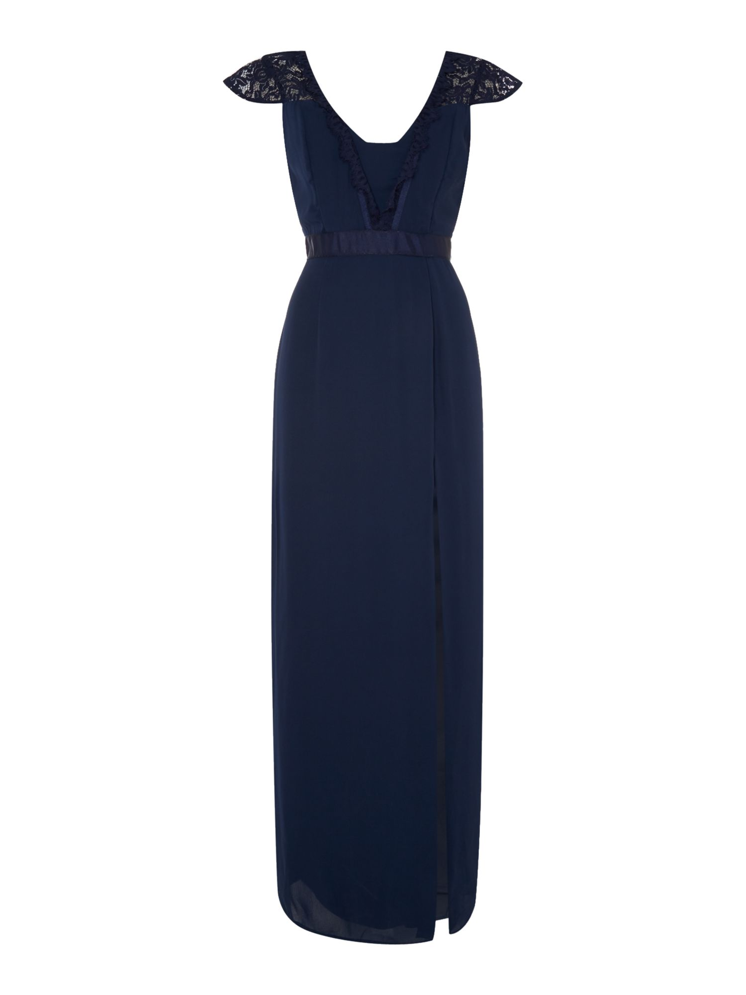 Elise Ryan Elise Ryan Sleeveless V Neck Split Maxi Dress, Navy