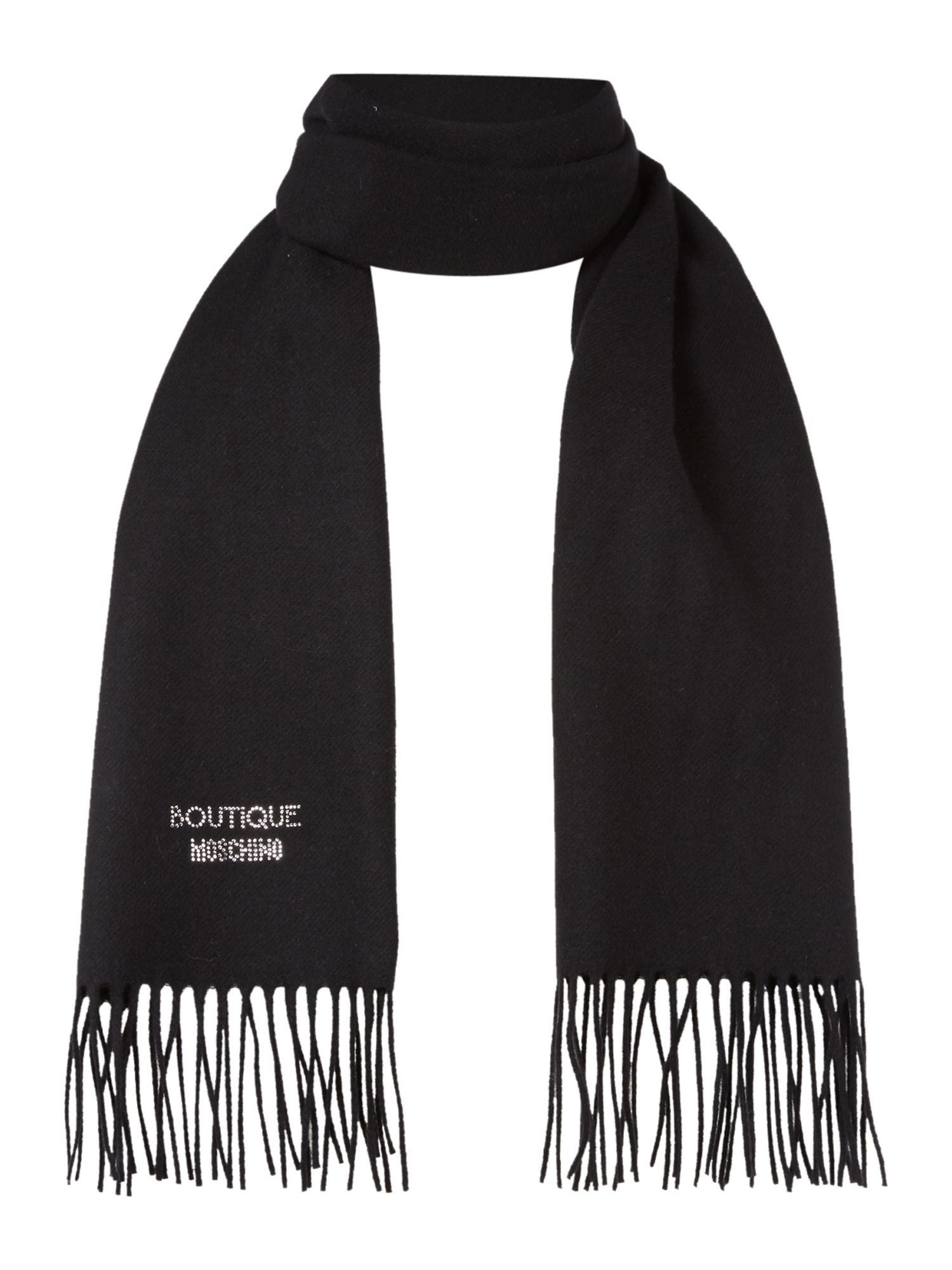 Boutique Moschino Boutique Moschino Diamante logo scarf, Black