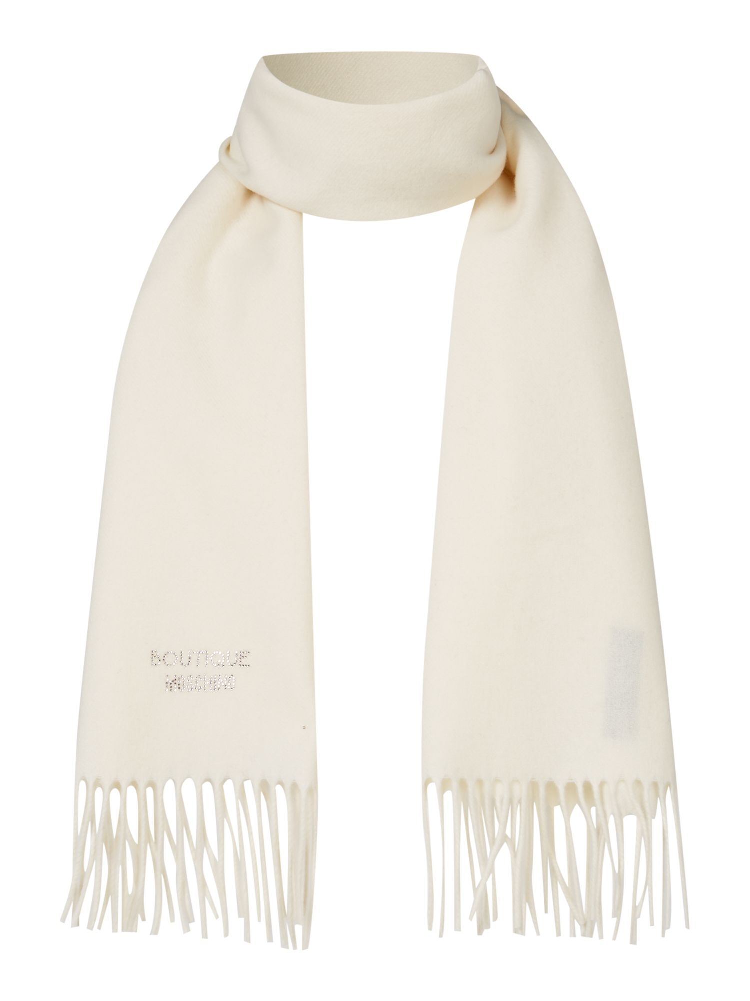 Boutique Moschino Boutique Moschino Diamante logo scarf, Cream
