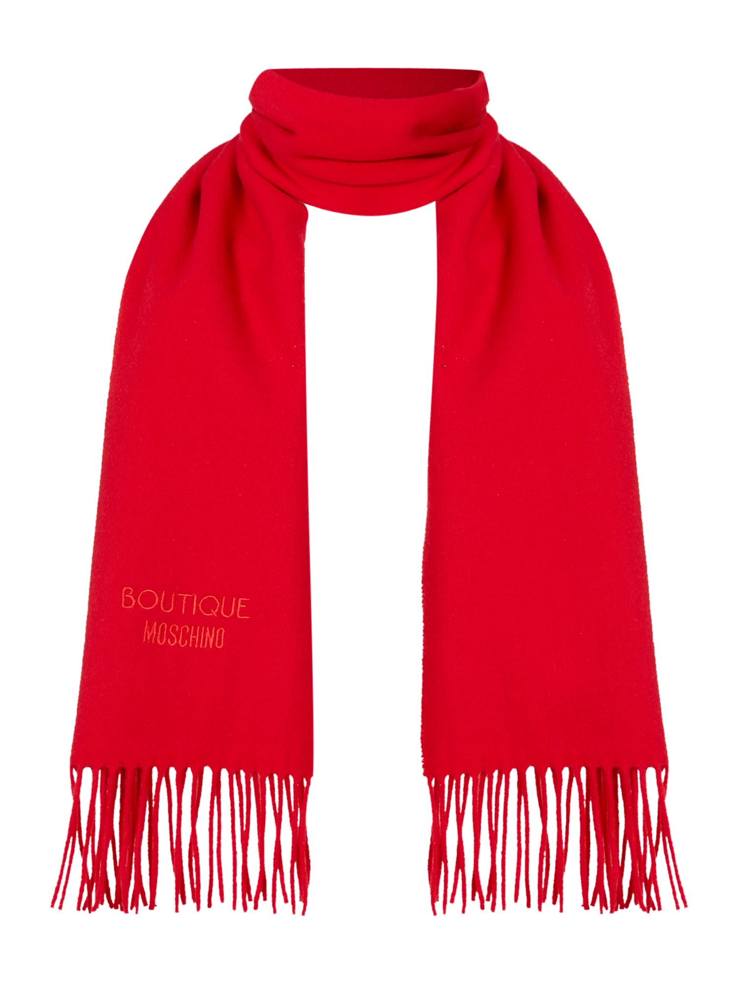Boutique Moschino Boutique Moschino Logo wool scard, Red