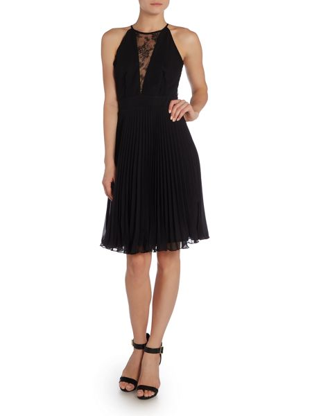 Elise Ryan Halter Neck Lace Pleated Midi Dress