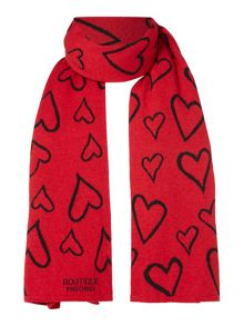 Boutique Moschino Long heart wool scarf