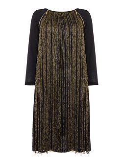 Metallic fringed knee length jersey dress