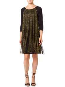 Biba Metallic fringed knee length jersey dress