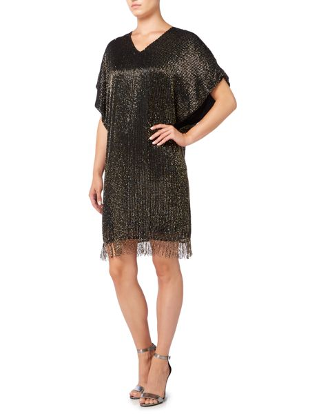 Biba Luxe fully beaded tassel detail dress