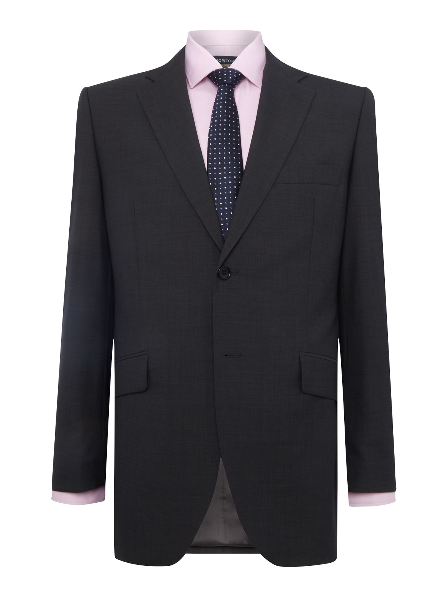Howick Tailored Men's Howick Tailored Delaware SB2 suit jacket with notch lapel, Charcoal