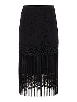 Lace and fringing luxe skirt