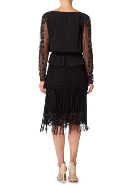 Biba Lace and fringing luxe skirt