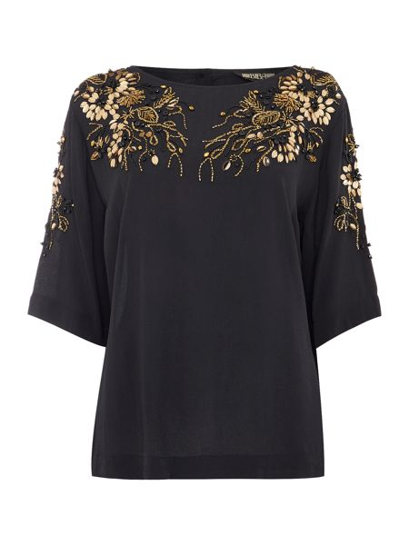 Biba Luxe embellished button back detail blouse