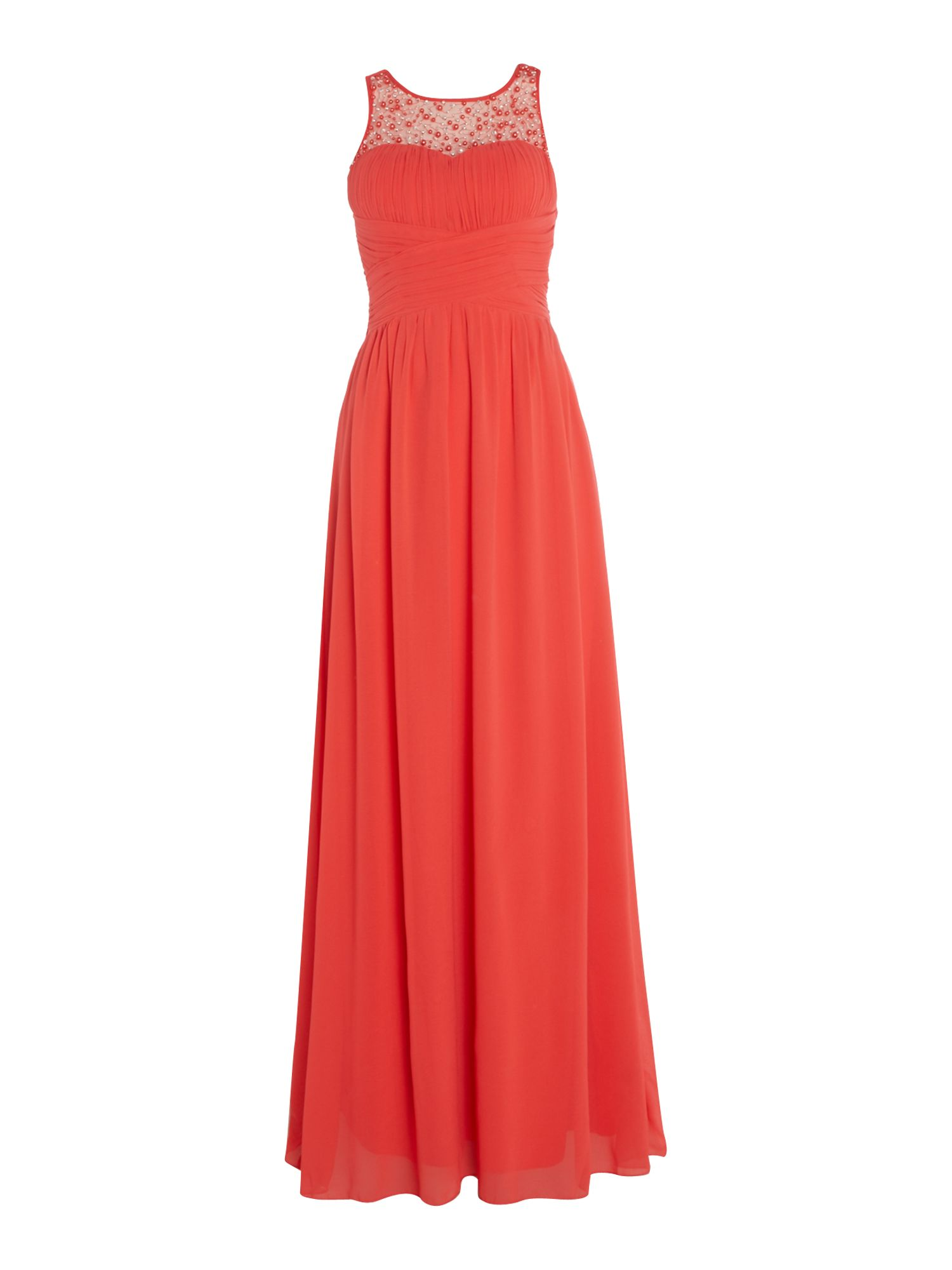 Little Mistress Beaded top maxi dress, Watermelon