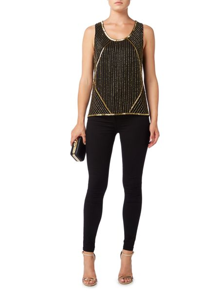Biba Drape back fully embellished sleeveless blouse
