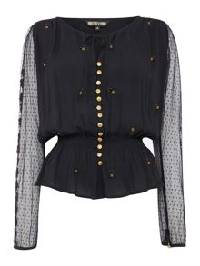 Biba Lace sleeve embellished peasant blouse
