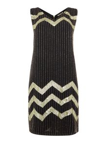 Biba Chevron fully embellished dress