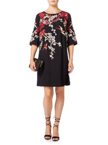 Biba Embroidered and embellished tie back shift dress