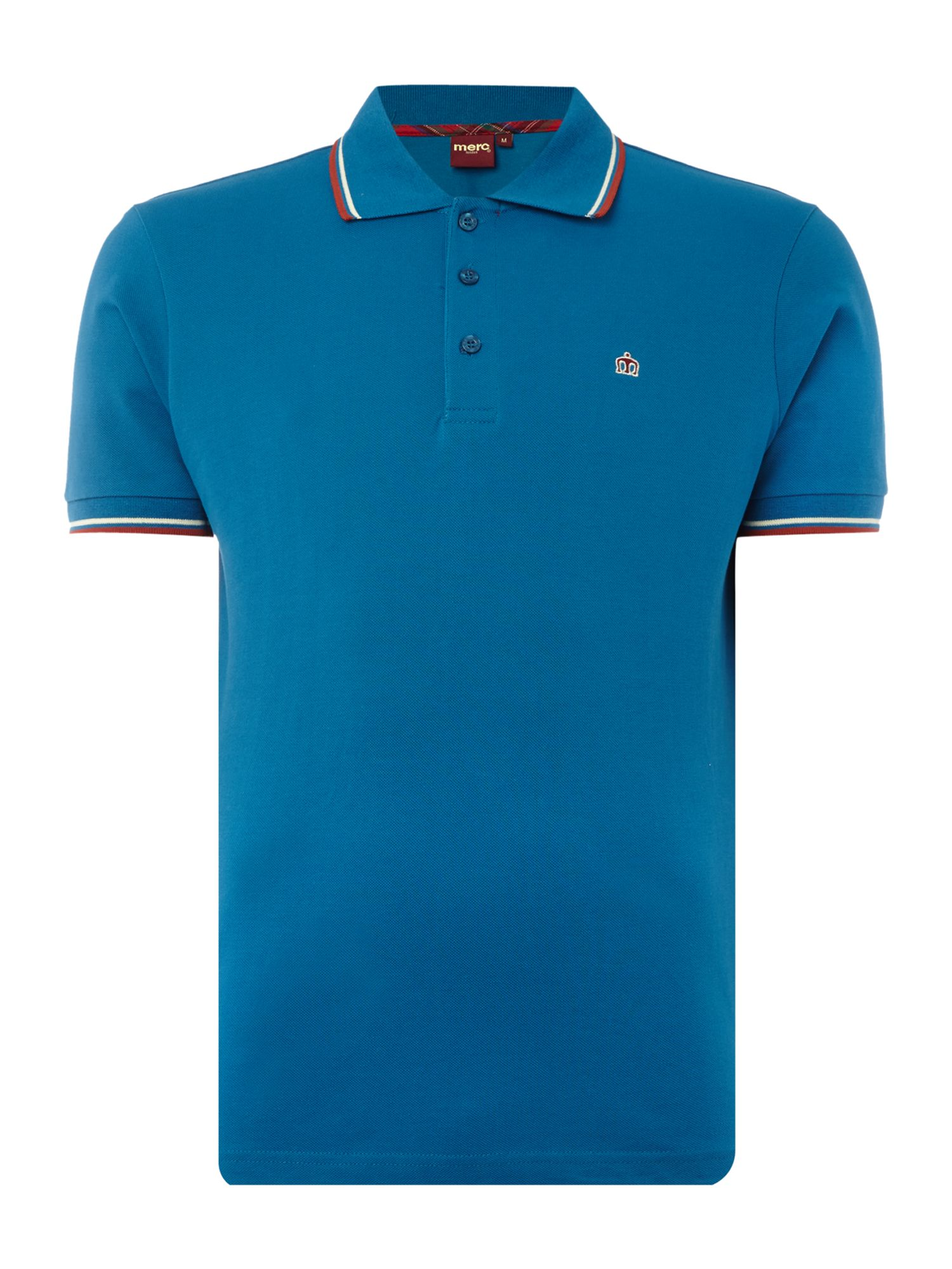 Men's Merc Card Classic Twin Tipped Polo Shirt, Bright Blue