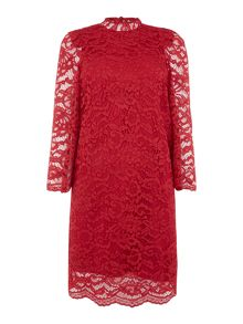 Biba Lace high neck volume sleeve dress