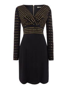 Biba Studded long sleeve jersey wrap dress