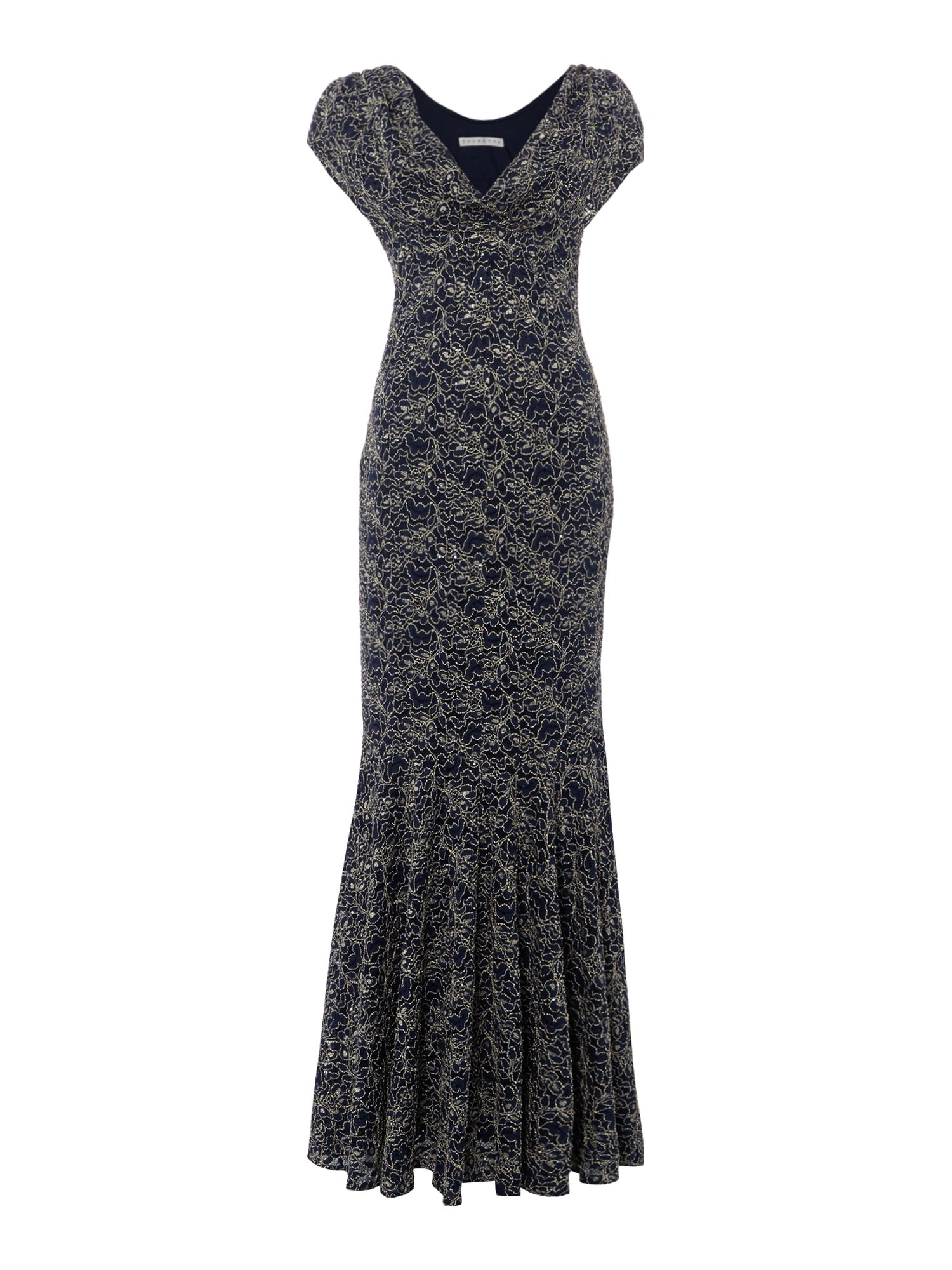 Shubette Lace cowl neck gown, Blue Silverlic