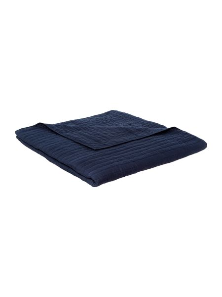 Linea Quilted cotton bedspread, navy