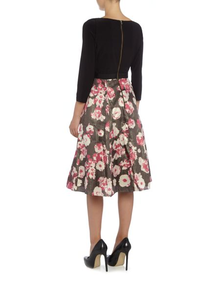 Adrianna Papell Halter neck posy print gown