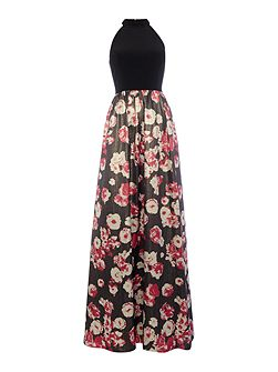 Halter Neck Posy Print Full Skirt Dress