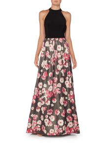 Adrianna Papell Halter Neck Posy Print Full Skirt Dress