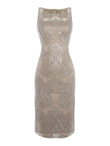 Adrianna Papell Sequin midi sleeveless lace dress