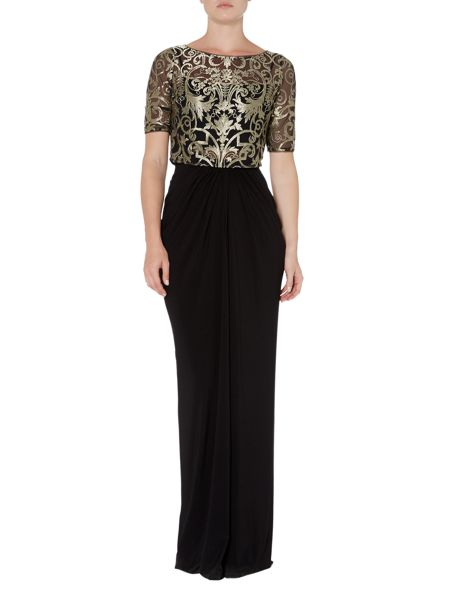 Adrianna Papell Gold Lace Top Jersey Gown