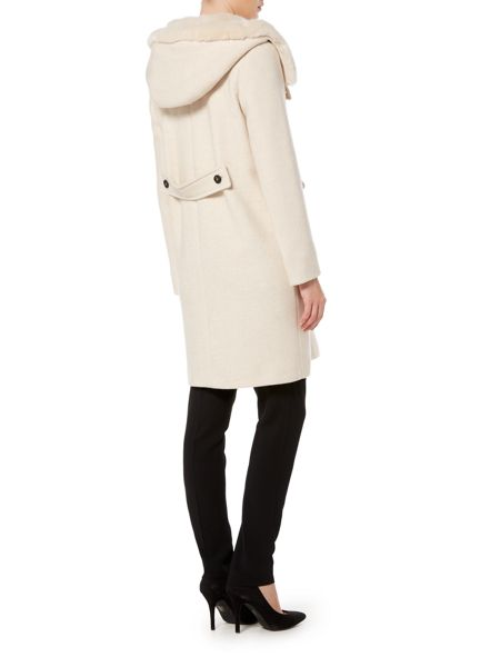 Marella Footing wool coat faux fur hood
