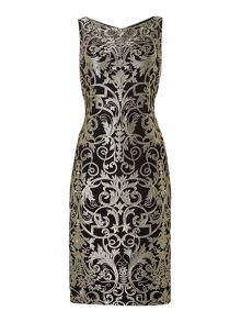 Adrianna Papell Sleeveless Gold Lace Shift Dress