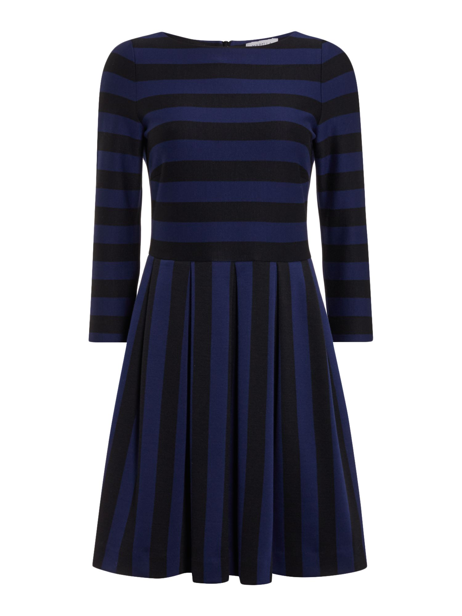 Marella Este striped fit and flare dress, Blue