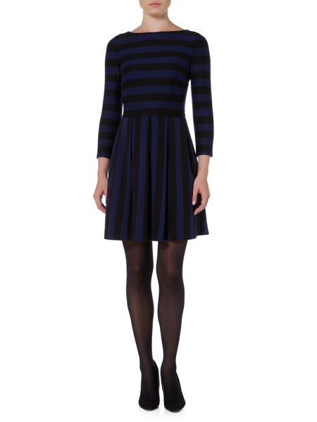 Marella Este striped fit and flare dress