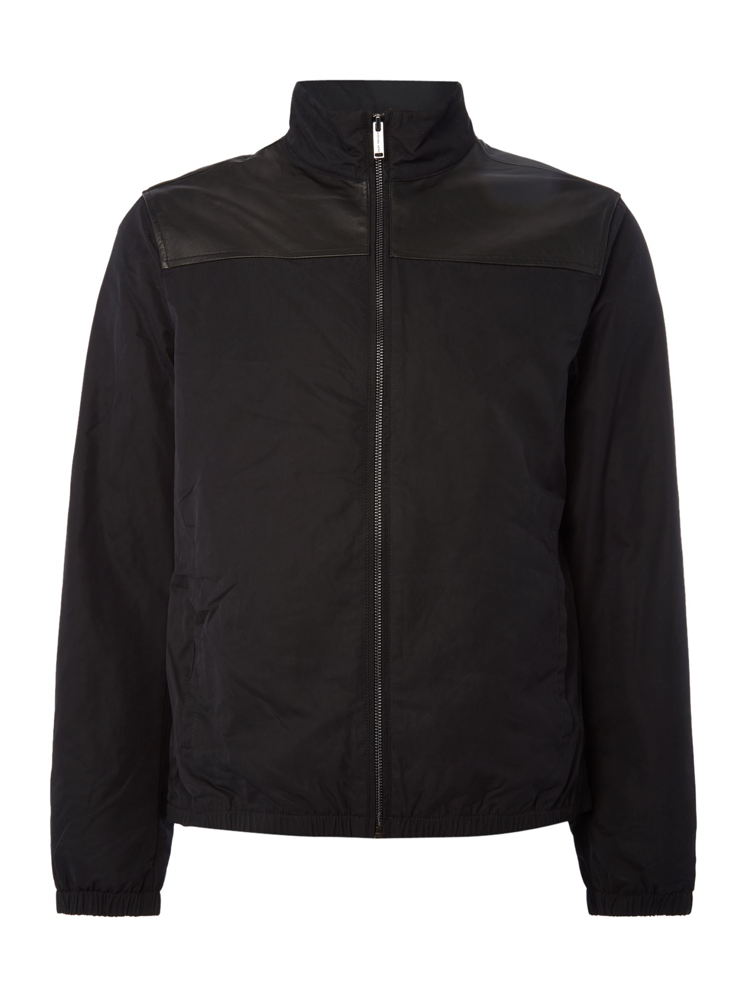 Mens Michael Kors Leather and nylon mix harrington jacket Black