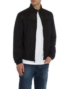 Michael Kors Leather and nylon mix harrington jacket