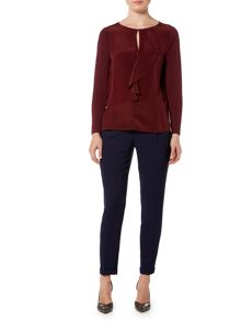 Marella Moneta long sleeve frill front blouse