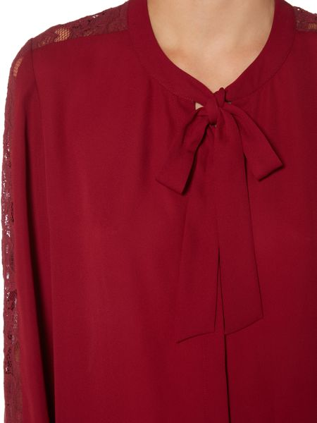 Therapy Pauline Pussybow Lace Sleeve Detail Blouse