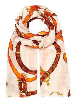 Lydia bridal print long silk scarf