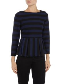 Marella Verve striped frill hem top