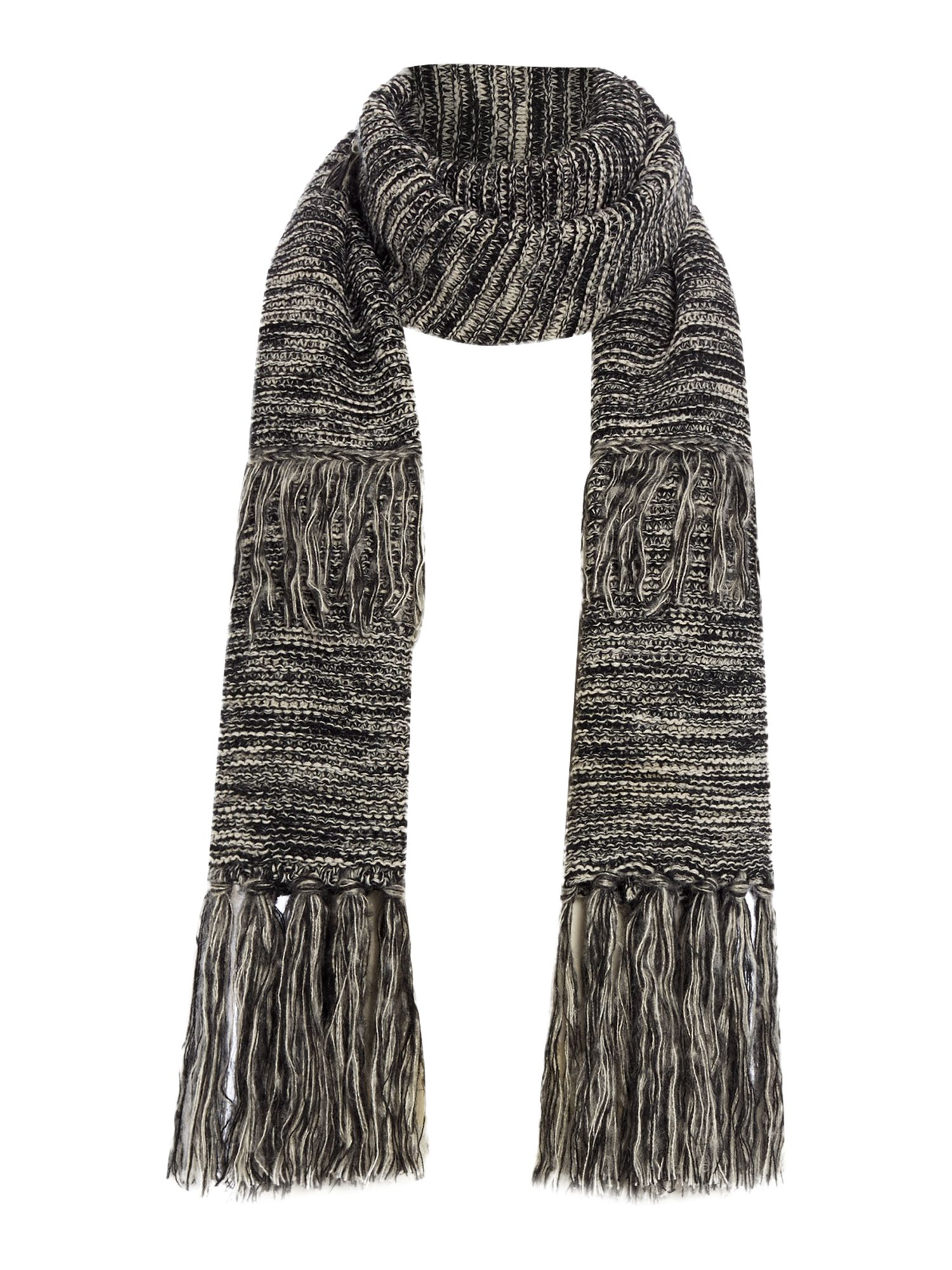 Pieces Pieces Layered tassel scarf, Grey