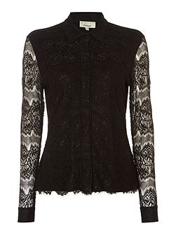 Lace detail jersey shirt