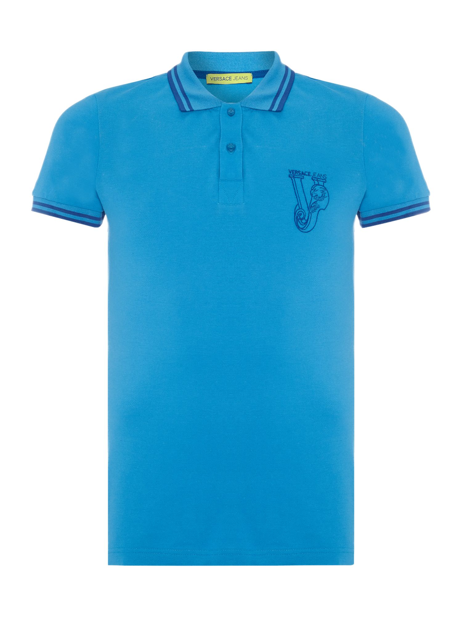 Mens Versace Jeans Chest embroidered logo polo shirt Blue