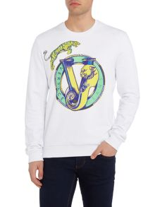 Versace Jeans Embroidered tiger print crew neck sweat top