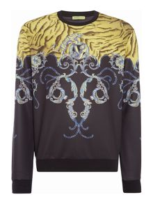 Versace Jeans Tiger chain print crew neck sweat top