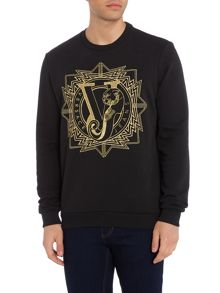 Versace Jeans Large metallic embroidered logo sweat top