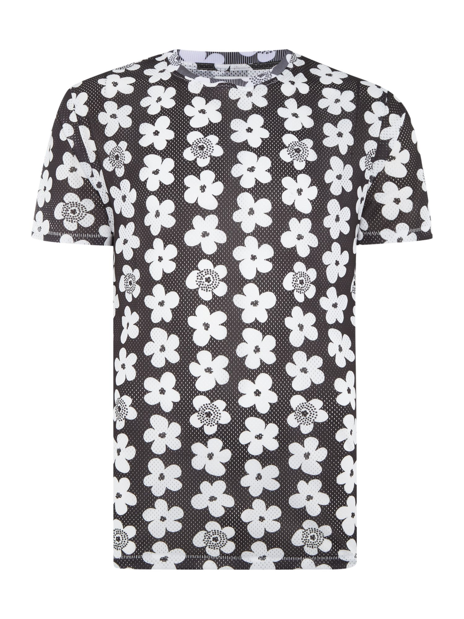 Men's Soulland Regular fit all over flower print t shirt, White