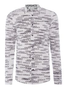 Versace Jeans Regular fit all over log print long sleeve shirt