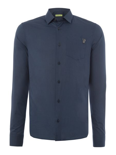 Versace Jeans Slim fit VJ chest logo long sleeve shirt