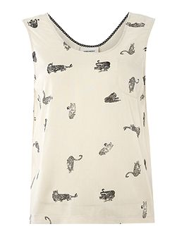 Sleeveless jersey printed top